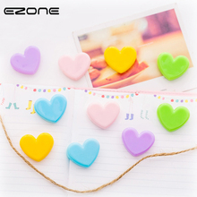 EZONE 5Pcs/Set Love Heart Photo Clips Mini Plastic Memo Clip DIY Wall Craft Pegs With Hemp Rope Classification Gifts