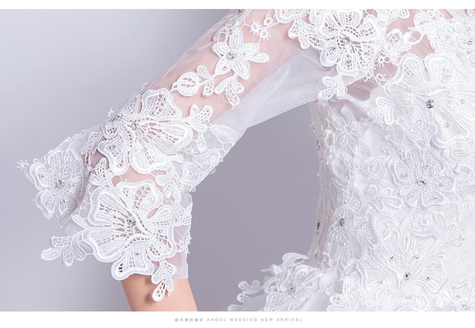 Angel Wedding Dress Marriage Bride Bridal Gown Vestido De Noiva 2017 Boat Neck horn sleeve, big tail 6910 18