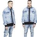 Alta Qualidade Dos Homens de Jaqueta Jeans Jaqueta Jeans Sobre Tamanho Representam O Medo de Deus Yeezy Lavado Rasgado Cowboy Casaco Hip Hop Balck Azul