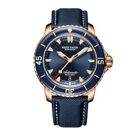 שונית טייגר/RT צלילה שעונים לגברים רוז זהב הכחול חיוג סופר זוהר שעונים אנלוגיים שעונים אוטומטיים RGA3035