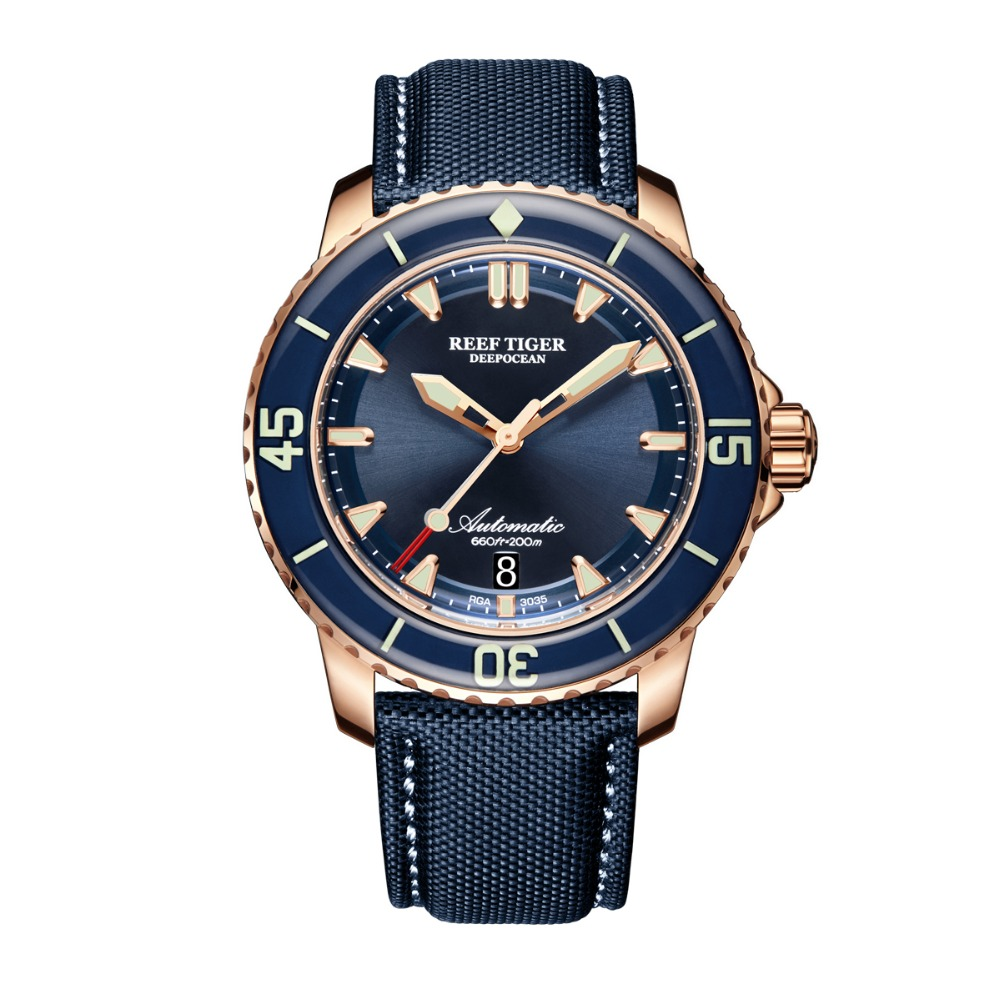 Reef Tiger/RT Dive Watches for Men Rose Gold Blue Dial Super Luminous Watches Analog Automatic Watches RGA3035