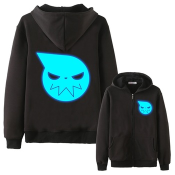 Anime Cos Soul Eater MAKA ALBARN luminous Coat hoodie feece jacket Soul Eater Black Star thick Noctilucent hoodie jacket фото