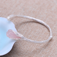 MetJakt Natural Agate/Rose Quartz Bangle Solid 999 Fine Silver Open Tulip Bracelets for Women's Luxury Jewelry