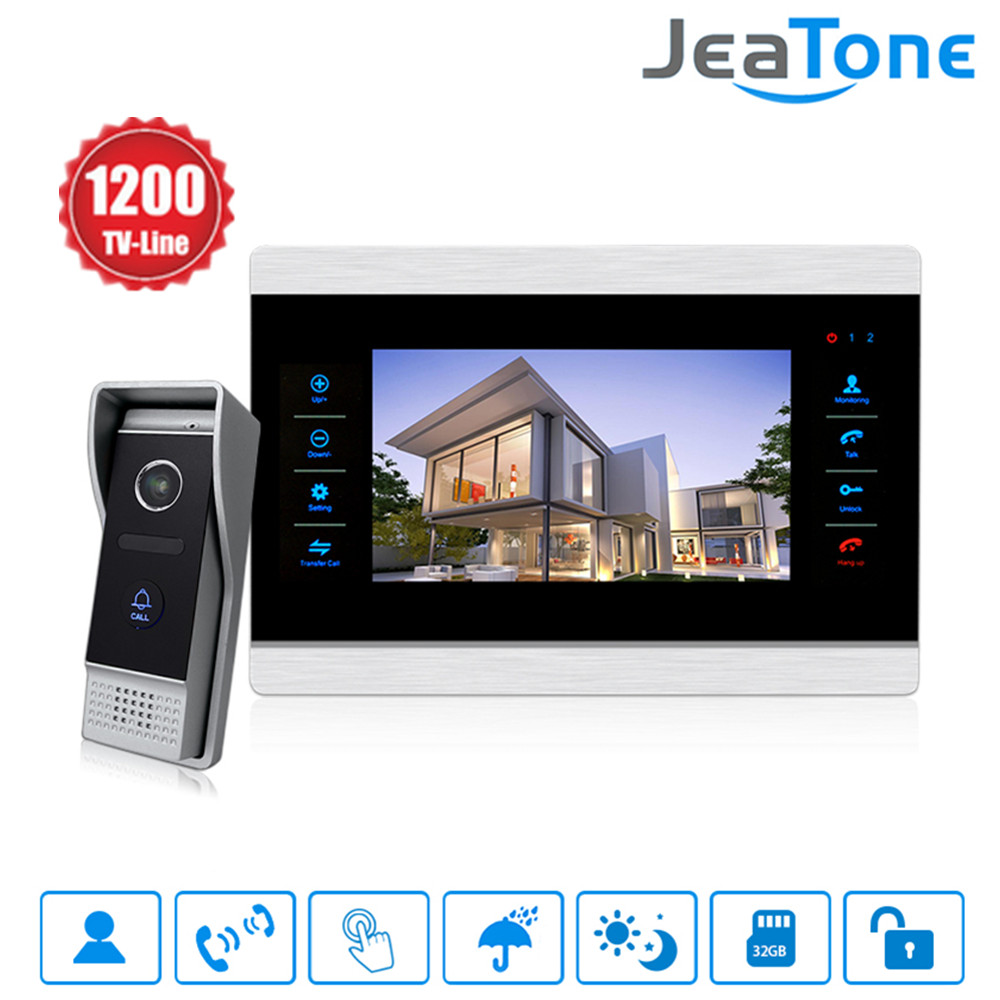 Jeatone 10 inch Color Video Doorbell Intercom Monitor&1200TVL Outdoor Panel Door Phone Intercom System IP65 стоимость