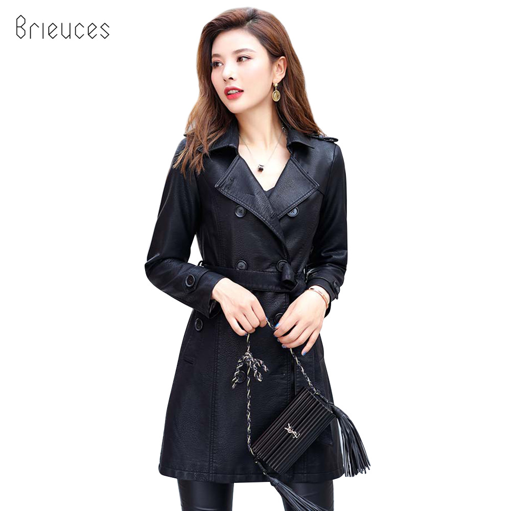 Brieuces Plus Size 3XL   Leather   Jacket Women Long Double Breasted Basic Motorcycle Jackets Female Biker Casaco Feminino Coat
