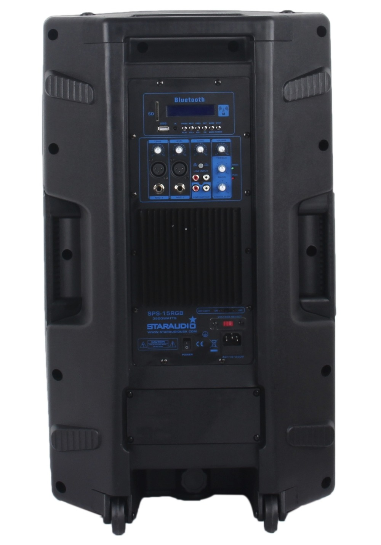 STARAUDIO 2Pcs 15 3500W PA DJ Stage Club Karaoke Powered Active Bluetooth Speakers W/ Light Stands 2CH UHF IR Mics SPS-15RGB