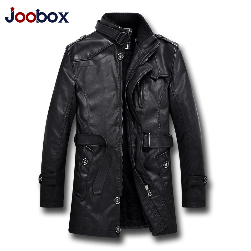 JOOBOX Brand 2017 Fashion Autumn Winter Leather Jacket Men Warm thicker Faux Leather PU Coats High Quality Wool Liner outerwear autumn and winter new men s fashion thicker warm wool cap hooded knit cap
