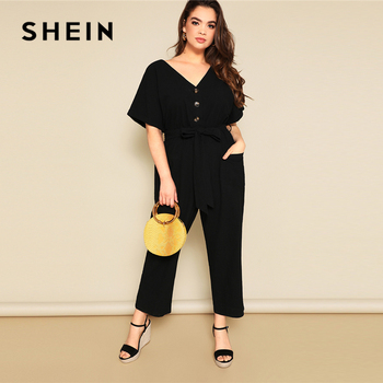SHEIN Plus Size Button Front Wide Leg Belted Jumpsuit 2019 Women Spring Summer Casual V Neck Short Sleeve Longline Jumpsuits