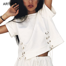 bef7ad14673 Articat Sweet Cross Bandage Crop Top Women T Shirt 2017 White Lace Up Short  Sleeve Tees