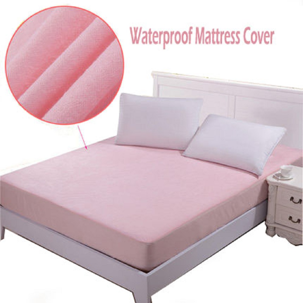 1-pcs Cotton&TPU Waterproof Fitted Sheet Polymer Composite Mattress Cover  Twin/Full/Queen Customized Size 5 Color FREESHIPPING