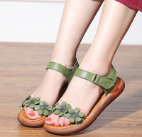 RUSHIMAN 2018 Summer New Original Vintage Real Leather Sandals With Peep Toe Sandals