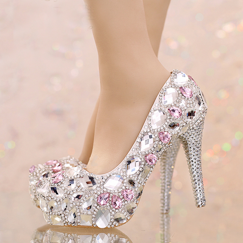 Silver Rhinestone Wedding Shoes Round Toe Bridal With Pink Crystal Platform Prom Graduation Party High Heels In Womens Pumps From On