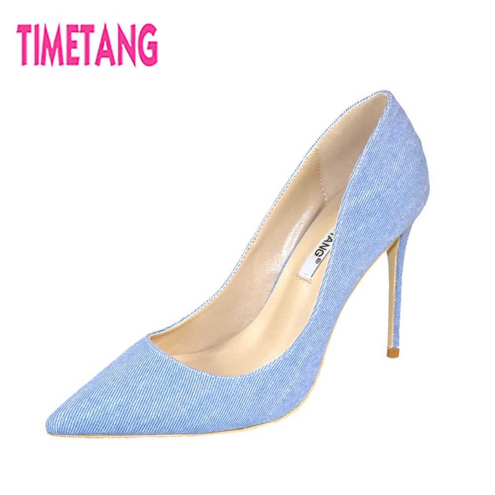 TIMETANG 2018 Concise Denim Pointed Toe High Heel Slip On Women Pumps Thin Heel Stilleto OL Shallow Mouth Shoes Plus Size 34-46 2015 spring thick heel shallow mouth bow pointed toe low heeled shoes black women s plus size shoes