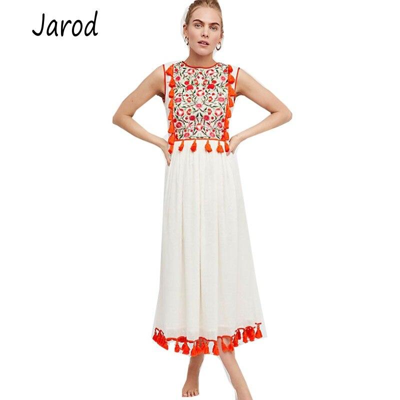 Bohème sans manches glands Floral broderie Maxi robe Boho Chic taille haute femmes robe longue décontractée Vestidos