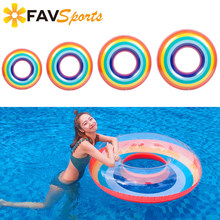 Swimming Rings 2018 Inflatable Pool Float Rainbow Swimming Rings Flotador Anillo Summer Pool Fun Seat Boat Tube Toys 60cm-120cm(China)