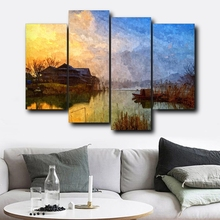 4PCS Sunrise Natural Wall Artwork Abstract House Posters and Prints Decorative Canvas Painting Home Living Room Decor
