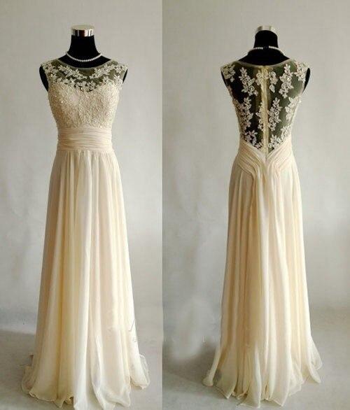 Real Photo Long prom dresses 2015 vestidos de festa vestido longo A-line Chiffon Applique Boat Neck Sheer Back Prom Dresses