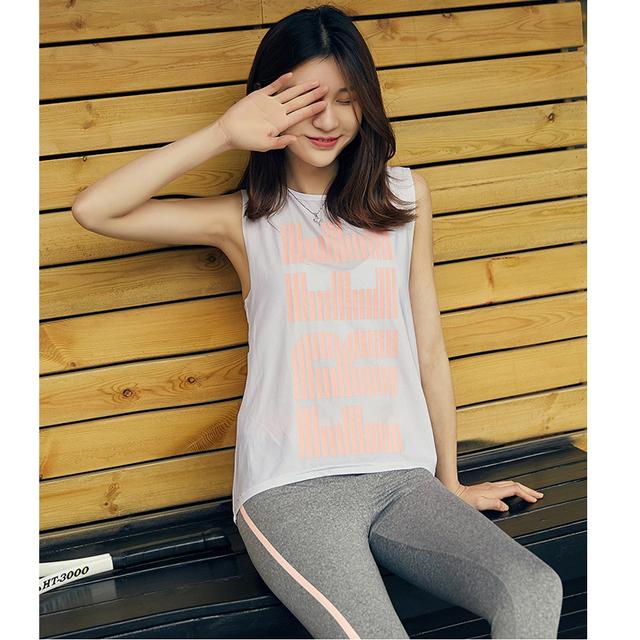Sleeveless Print Sport Yoga T-Shirt