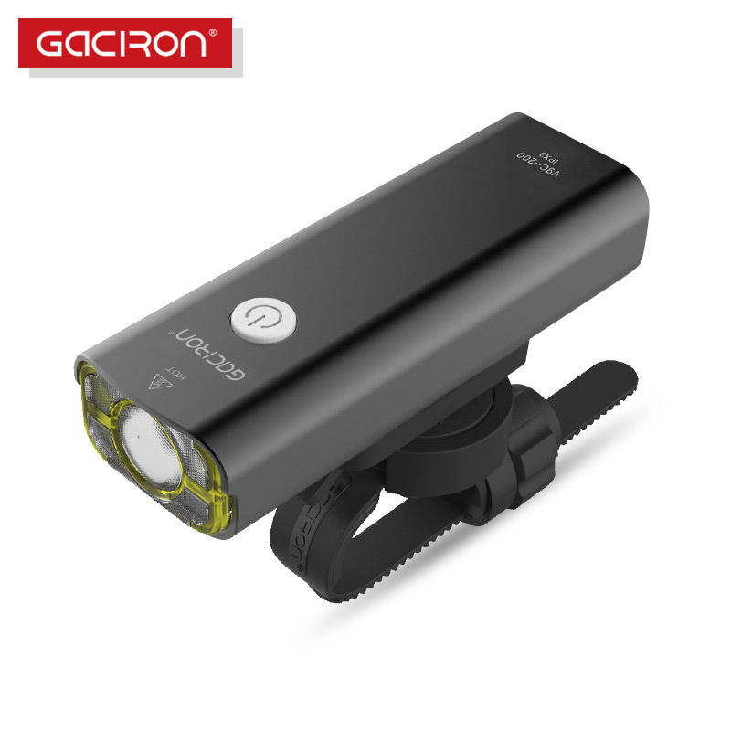 GACIRON Usb Rechargeable Bike Handlebar Cycling Led Light 18650 Battery Flashlight Torch Headlight Bicycle Accessories white purple yellow light led flashlight stainless steel torch 18650 rechargeable uv torch olight jade identification