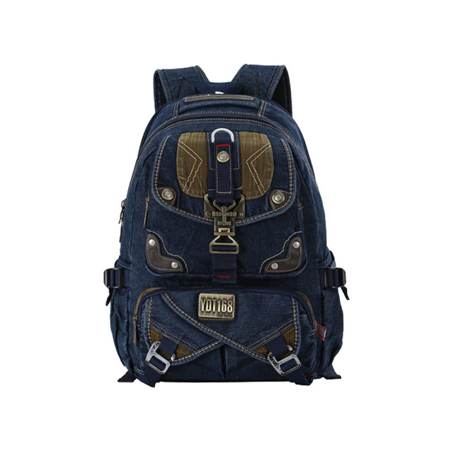 Korean Style Men Backpack Multi Function Wash Denim Mens Casual ...