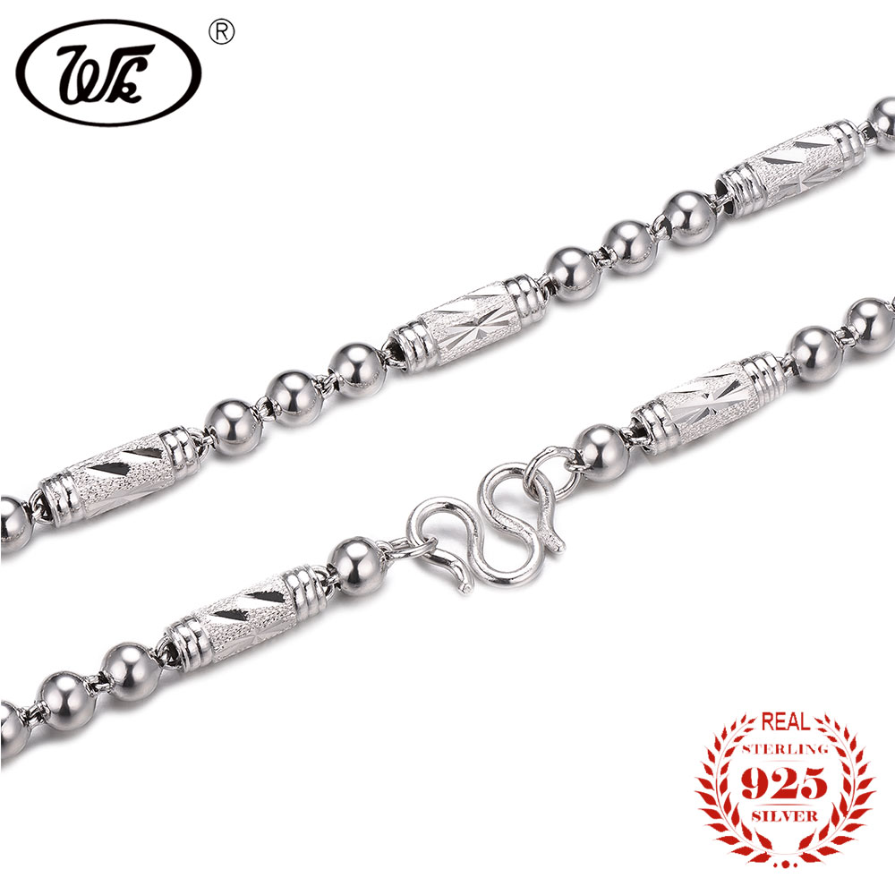 WK 100% 925 Sterling Silver Men Chain Necklace 4mm 5mm 6mm 18 20 22 24 Inch Long Thick Chain Necklaces Mens Jewelry NEW W3 NM014 solid silver 925 bold link chain necklace for mens 5mm thick chunky necklace simple style 100