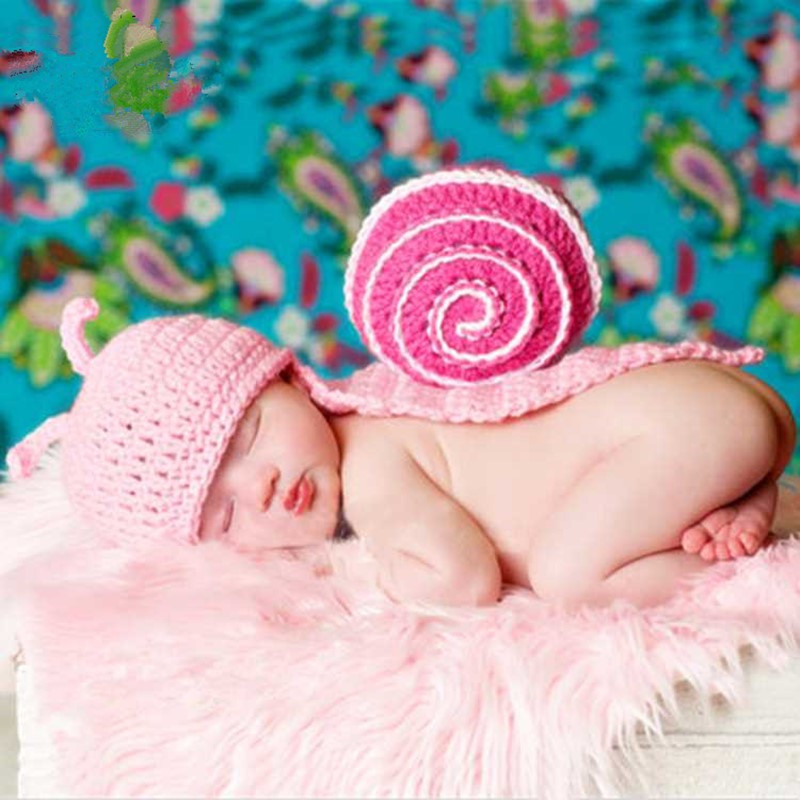 Newborn Photography Props Crochet Baby Clothes Snail Shape Cute Baby Photo Props Handmade Animal Hat Set Shooting Accessories