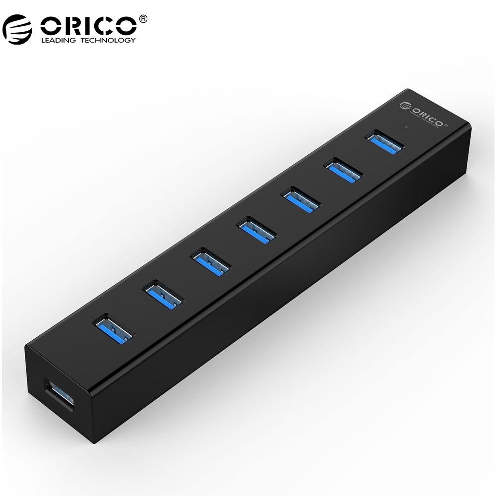 ORICO 7 Port USB 3.0 HUB High Speed ABS Mit 5V2A Netzteil für Windows/Vista/7/8/10/Linux/Mac-Schwarz (H7013-U3-AD)