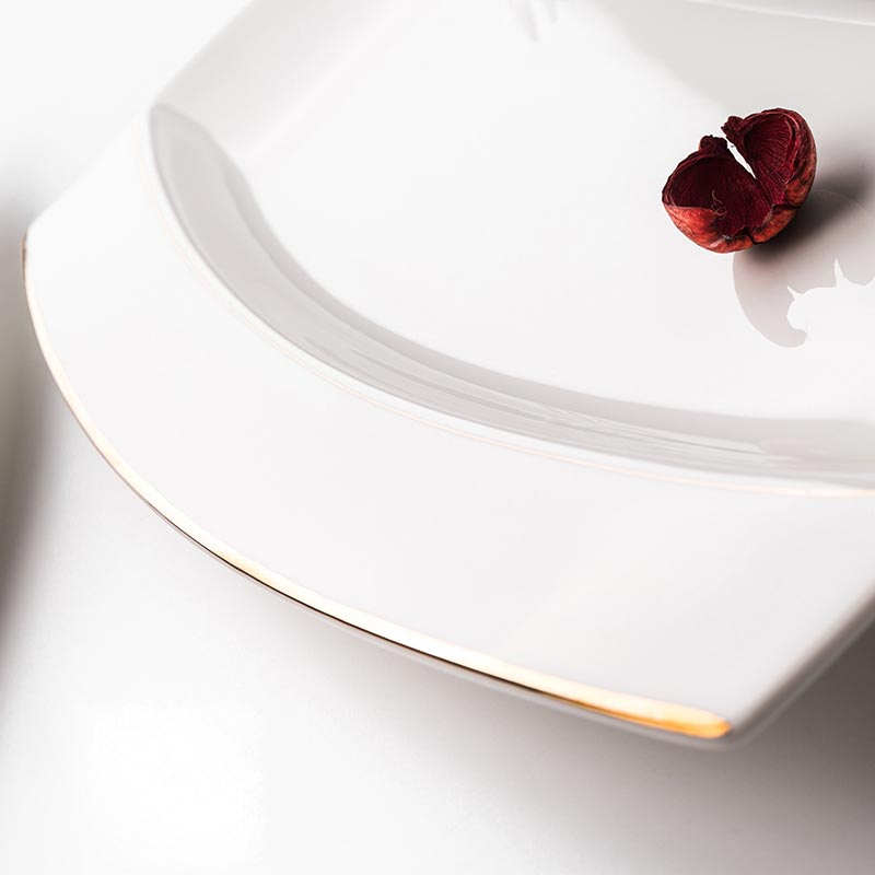Assiette à poisson céramique créative | Porcelaine jante dorée longue assiette à poisson, plats de nourriture occidentale vaisselle pour la maison, jardin pâtisserie Dessert grandes soucoupes 12 pouces - 5
