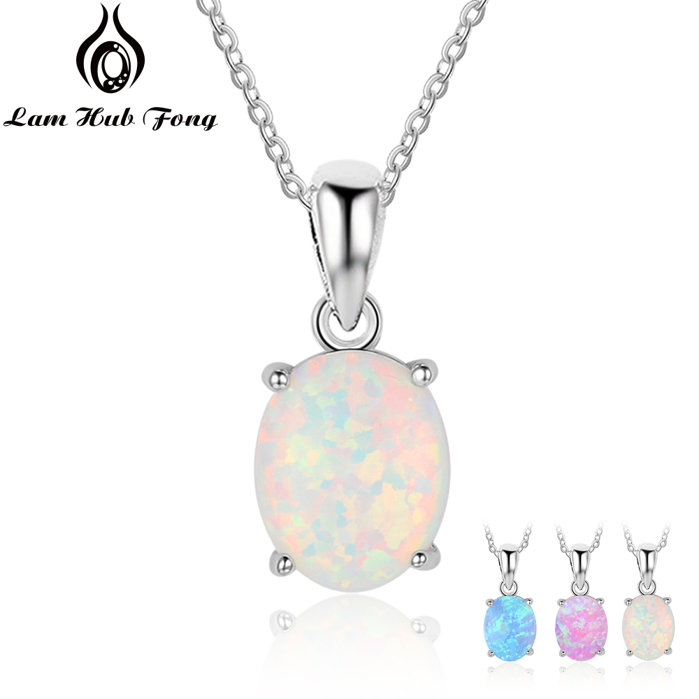 Women 925 Sterling Silver Pendant Necklaces Created Oval White Pink Blue Opal Necklace Birthday Gifts For Wife Lam Hub Fong