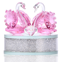 H&D Crystal Swan Figurine Collection With Round Rhinestone Base Table Centerpiece Ornament Paperweight Wedding Favor Decor