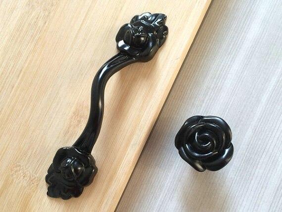 375 Dresser Drawer Pull Handles Black Rose Flower Kitchen