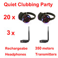 Silent Disco complete system black led wireless headphones - Quiet Clubbing Party Bundle (20 Headphones + 3 Transmitters)