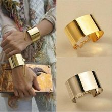 Fashion Punk Rock Wide Mirror Metallic Silver Gold Chain Bangle Bracelets Party Club Accessories Jewelry Hot Sell