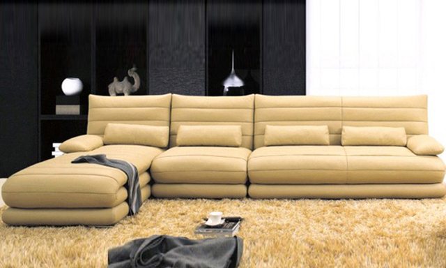 Free Shipping Latest Italy Design Multi   Combination Genuine Leather L  Shaped Corner Sofa For Living