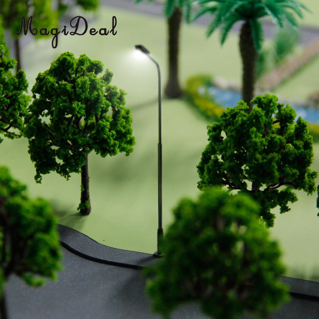MagiDeal 10Pcs/Lot 3V Model Street Lamp Lights Single Head for Train Track Garden Railway Railroad Layout Scenery Scene Decor