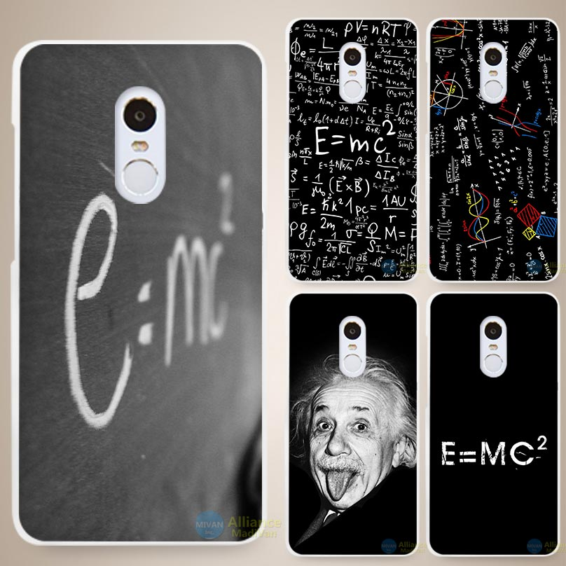 e mc2 with E=mc Math Albert Einstein Hard White Cell Phone Case Cover for Xiaomi Mi Redmi Note 3 3S 4 4A 4C 4S 5 5S Pro