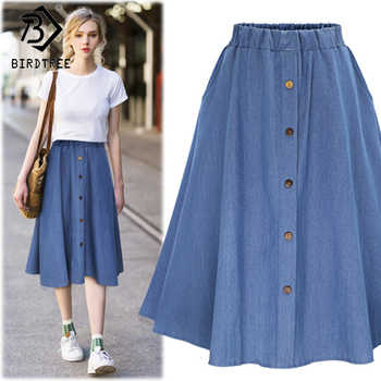 2018 Fashion Korean Preppy Style Denim Women Solid Color Long Skirt Nature Waist Female Big Hem Casual Button Jean Skirt B81811A - DISCOUNT ITEM  10% OFF All Category