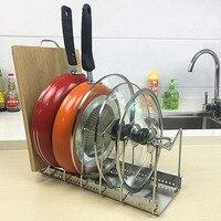 JILIDA Adjustable Stainless Steel Pot Lid Holder Pan Dish Rack Drain Chopping Board Shelf Home Organizer Kitchen Accessories