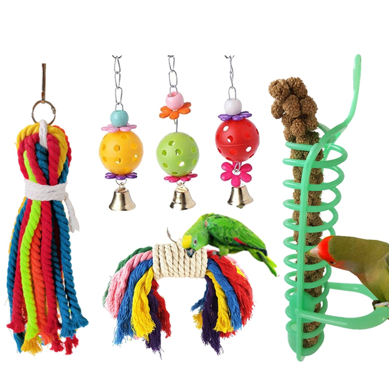 Bird Supplies Bird Toys 6 Pcs Wood Bird Toy Special Design Colorful Small Medium Parrots Big Bird Chew Swing Pets Toys Bird Supplies