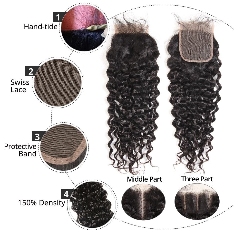 Alipearl Hair Water Wave Bundles With Closure Brazilian Hair Weave 3 Bundles With 5x5 Closure Natural Color Remy Hair Extension Human Hair Weaves