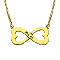 Wholesle Personalized Infinity Name Necklace Double Heart Infinity Engraved Name Necklace Gold Plated Best Gift For