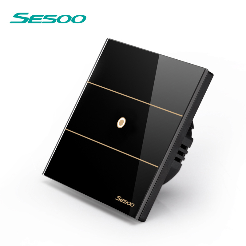 SESOO Remote Control Switch 1 Gang 1 Way, SY5-01 Black, RF433 Touch Wall Switch,Touch Light Switch