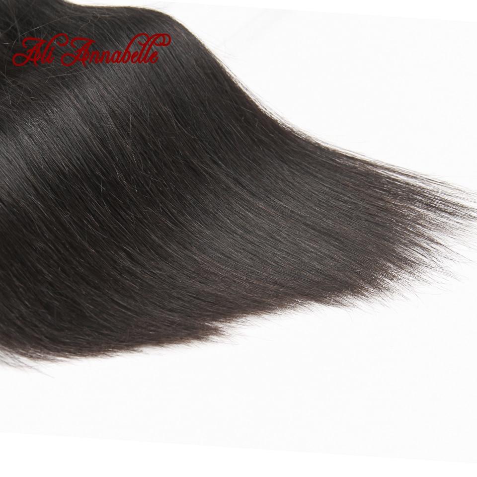 ALI ANNABELLE HAIR Straight Hair Bundles with Closure 100% Remy Human Hair Bundles with Closure Brazilian Hair Weave Bundles