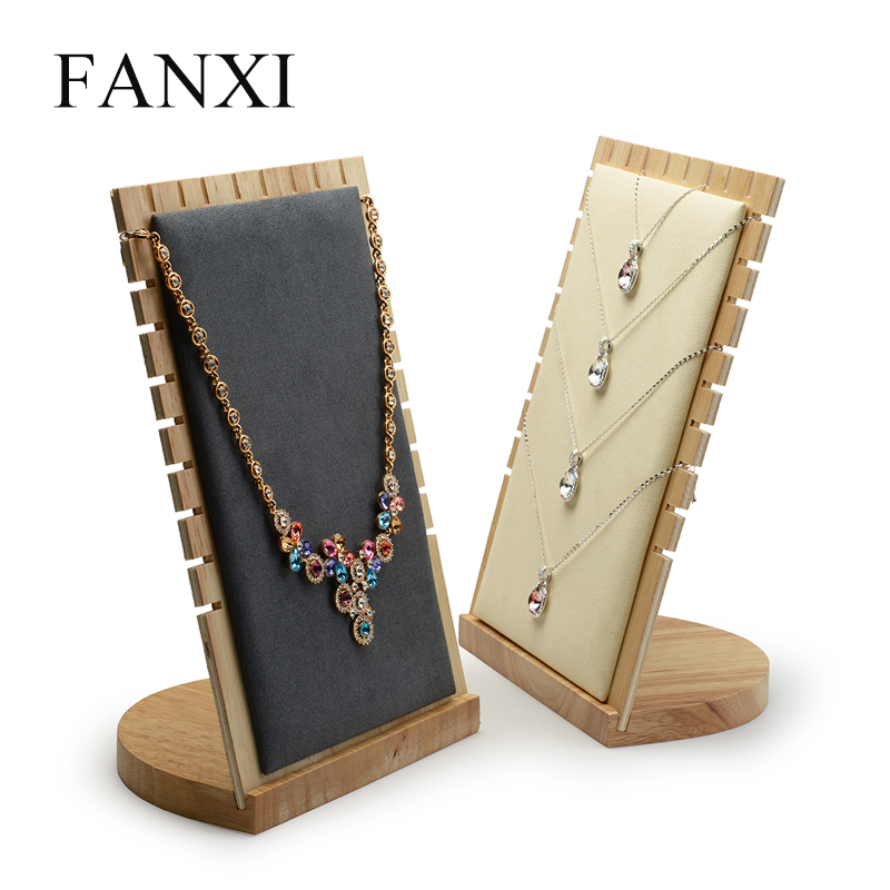 цена FANXI Solid wood Cream-white&Dark gray Pendant necklace display stand with microfiber for showcasing jewelry Necklace Holder