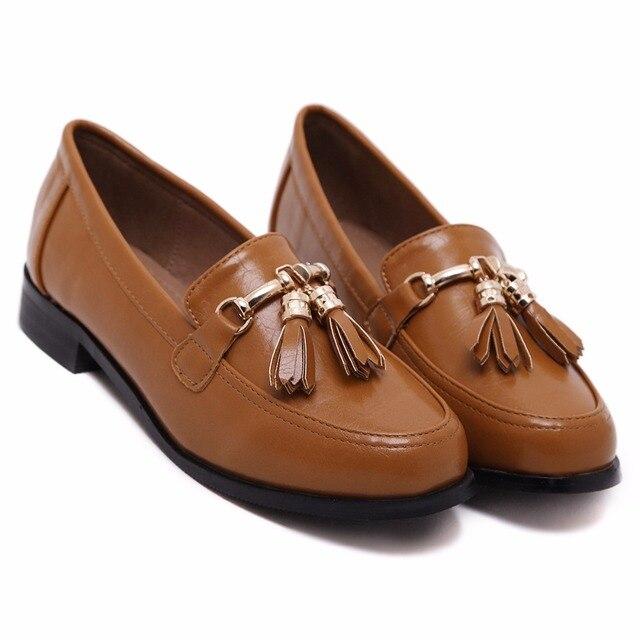 2017 Genuine Leather Dress Shoes Women Loafer Flats Brand Luxury Designer  Tassel Metal Slip On Women Flats Shoes free shipping