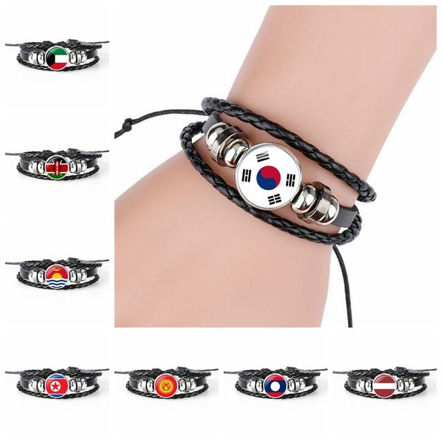 2018 New Fashion South Korea Latvia National Flag Bangle Bracelet For Men And Women Jewelry Friendship Gift for Football Fans