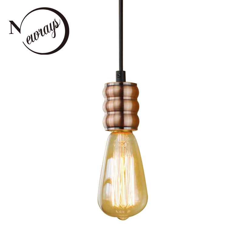 Vintage iron painted minimalist red bronze pendant lamp E27 220V LED hanging light fixture restaurant bedroom hallway hotel cafeVintage iron painted minimalist red bronze pendant lamp E27 220V LED hanging light fixture restaurant bedroom hallway hotel cafe