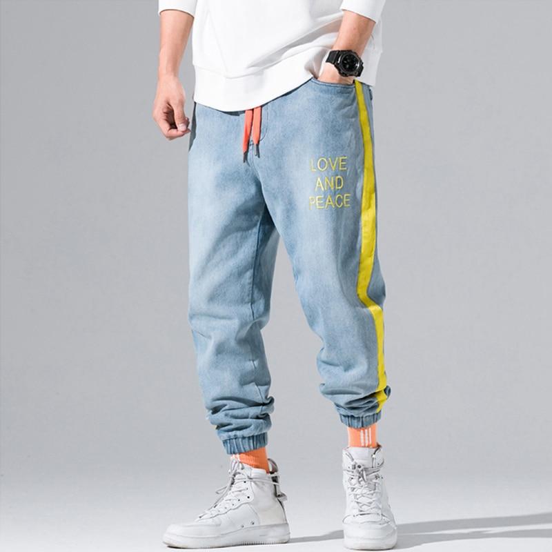 Autumn Winter Fashion Men Jeans Yellow Stripe Spliced Cargo Pants Letter Print Streetwear Hip Hop Tapered Pants Jogger Jeans Men