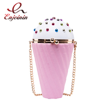 Colorful rivet ice cream shape ladies messenger bags women panelled pu shoulder bags lovely sweet Evening Bags day clutches