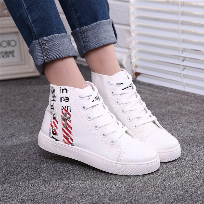 Flat High Top Canvas Women Shoes 17 Colors Spring Autumn Women's Flats Espadrilles Lace Up Casual Shoes Foot 22-24.5CM YD87 (21)